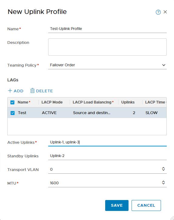 Creating New Uplink Profile