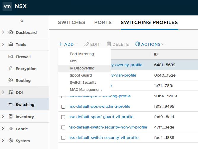 Switching > Switching Profiles > + ADD